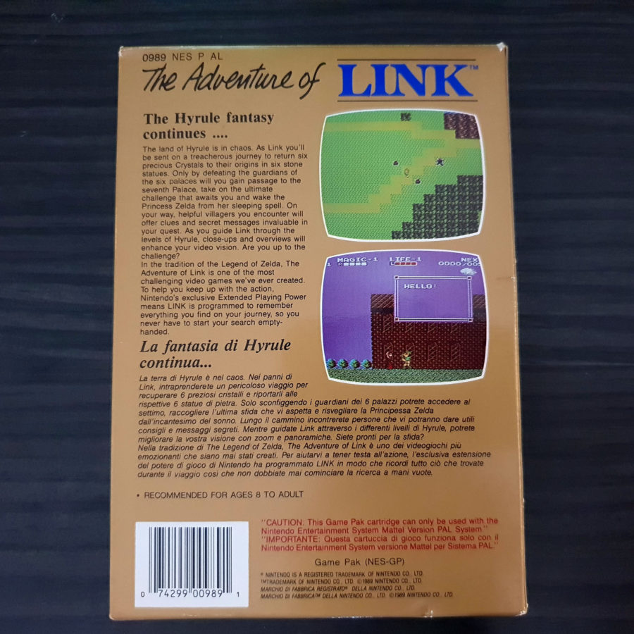 The Adventure of Link NES GBR Australia Mattel - Zelda 2