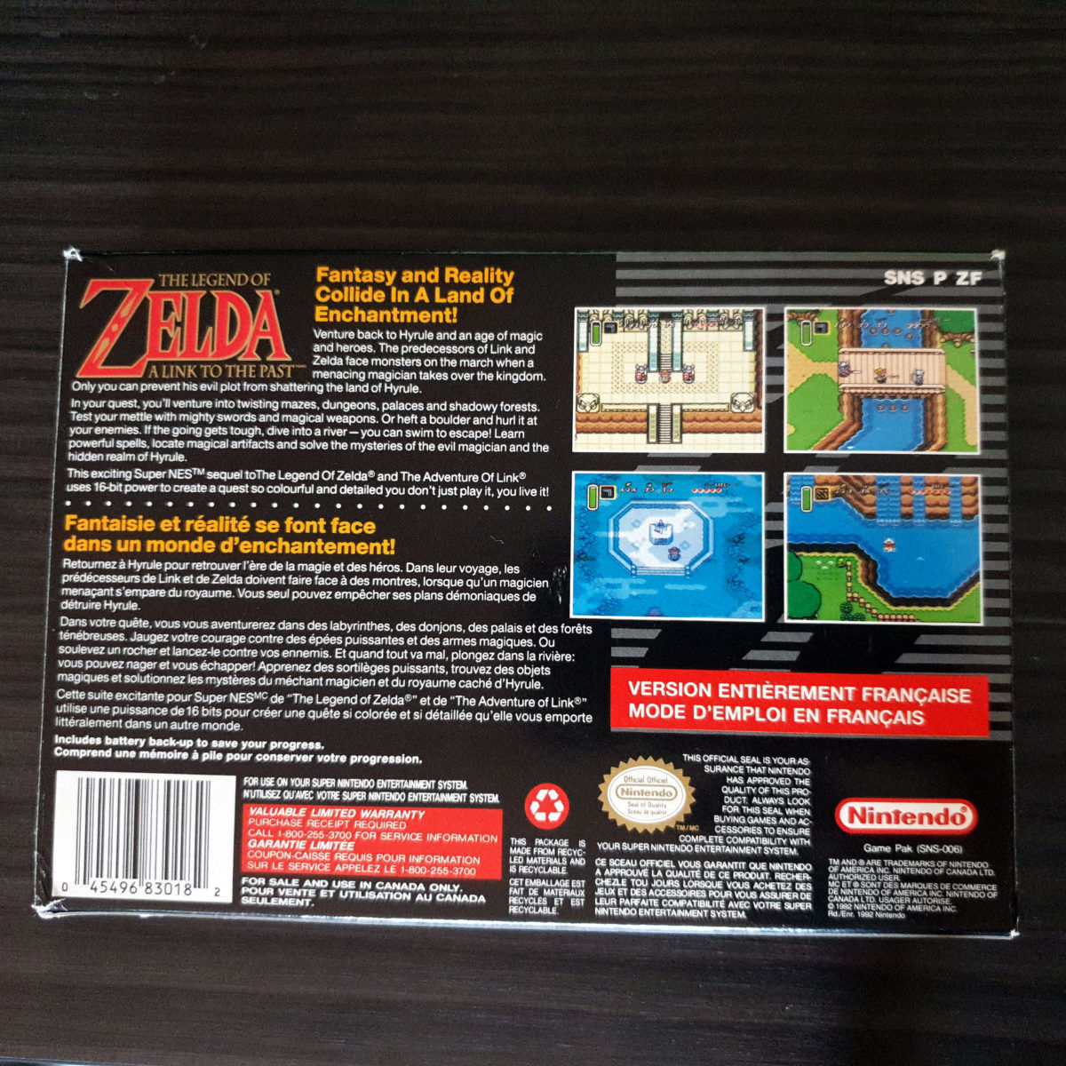 The Legend of Zelda A Link To The Past SNES Canada Frist Version