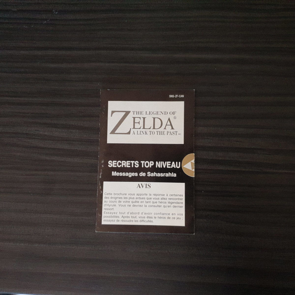 The Legend of Zelda A Link To The Past Canada First Print