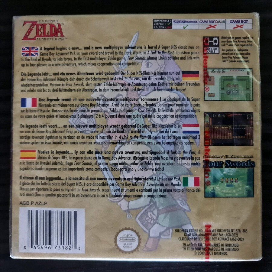The Legend of Zelda A Link To The Past - Four Swrods GBA Sealed European Version - Cover